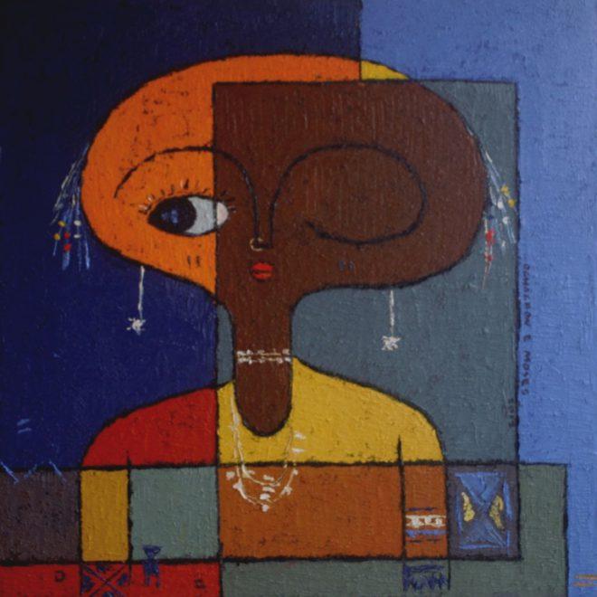 OGHAGBON E. MOSES, '' AMMATA 2'' MIXED MEDIA, 26'' X 26', 2012. SOLD