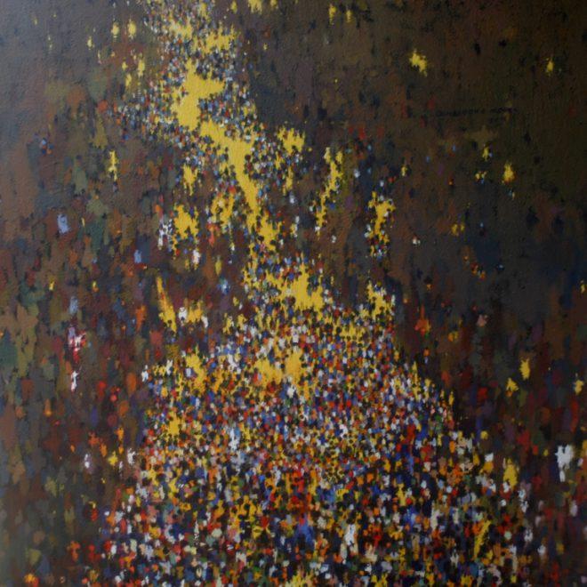 OGHAGBON E. MOSES, ''ARGUNGU RHYTHM 2'' OIL ON CANVAS, 54'' X 54'', 2013. SOLD