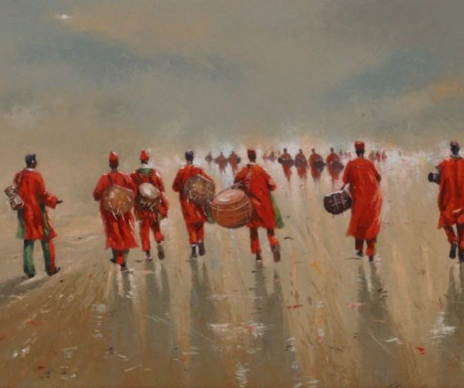 OGHAGBON E. MOSES ''COLLECTIVE EFFORT 2'' OIL ON CANVAS, 42'' X 23'', 2018. AVAILABLE