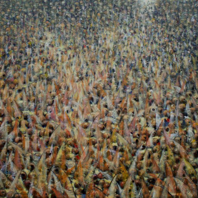 OGHAGBON E. MOSES, ''COMMON GOAL ARGUNGU 4 '' MIXED MEDIA, 54'' X 54'. 2013, SOLD