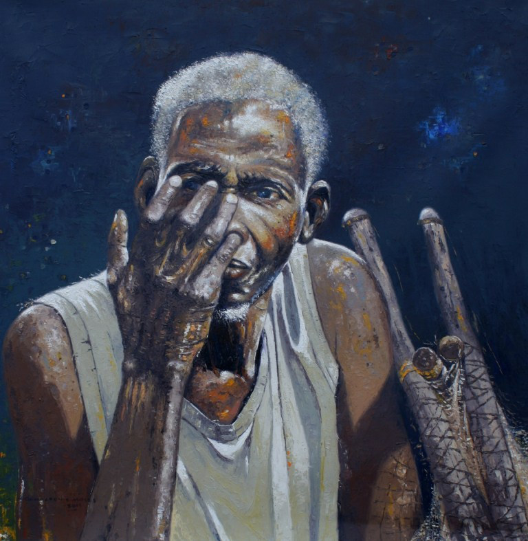 OGHAGBON E. MOSES, ''EXPERIENCE 1'' OIL ON CANVAS, 36'' X 36'', 2015. SOLD