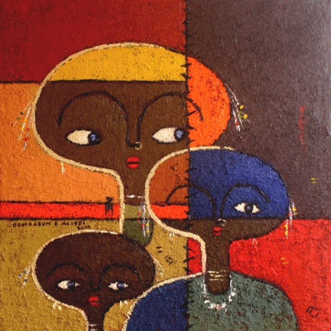 OGHAGBON E. MOSES, '' FAMILY 2'' MIXED MEDIA, 2012, 26'' X 26'', 2012 . SOLD