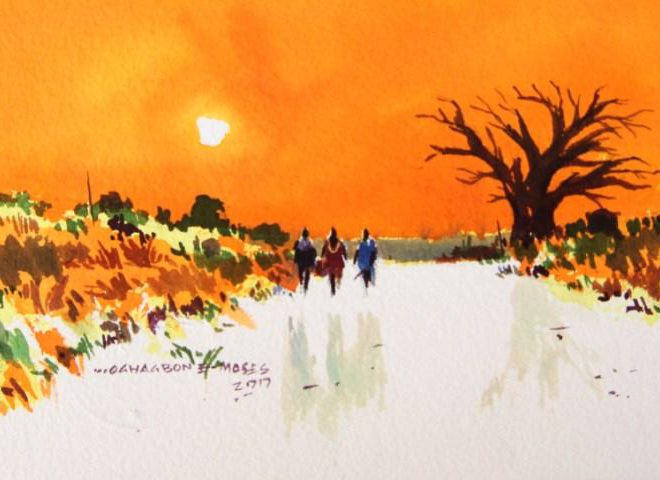 OGHAGBON E. MOSES ''LIFE IS BEAUTIFUL 6'' WATERCOLOUR , 44cm by 31cm, 2017. AVAILABLE