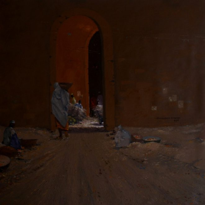 OGHAGBON E. MOSES ''NORTHERN PASSAGES'', OIL, 25'' X 25'', 2011. SOLD