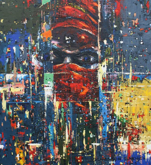 OGHAGBON E. MOSES ''REFLECTING 3', 47 '' X 28'', ACRYLIC ON CANVAS, 2013... AVAILABLE