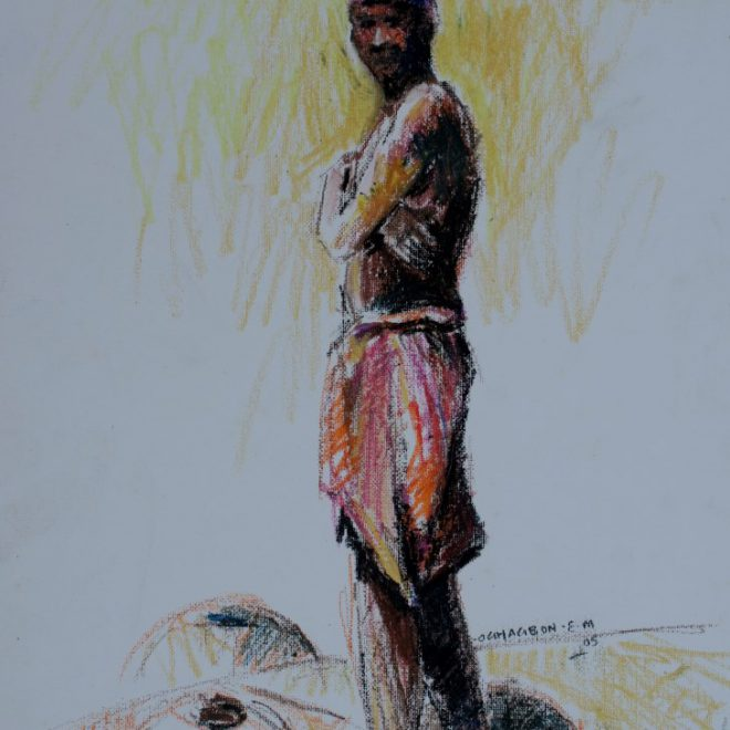 OGHAGBON E. MOSES, ''STUDY'' OIL PASTEL, 30CM X 21CM' 2005. SOLD