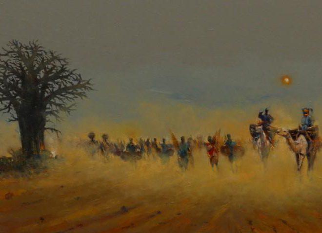 OGHAGBON E. MOSES '' THIS LIFE 2 (ARGUNGU)'' OIL ON CANVAS, 48'' X 23'', 2019.. AVAILABLE