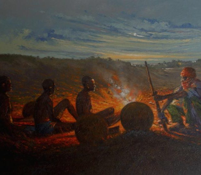 OGHAGBON E.MOSES, ''FAMILY TRADITION'' OIL ON CANVAS, 48'' X 27.5'', 2012. AVAILABLE
