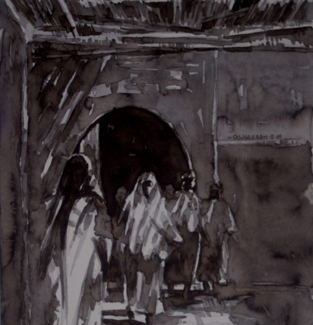 OGHAGBON E.MOSES '' IN THE LIGHT'' 1, WATERCOLOUR, 19.5'' x 13.5'', 2004. AVAILABLE