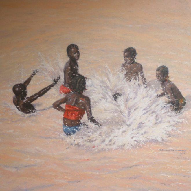 OGHAGBON E.MOSES, ''JOYFULLY'' 2. 42'' X 35'', OIL ON CANVAS, 2012.SOLD