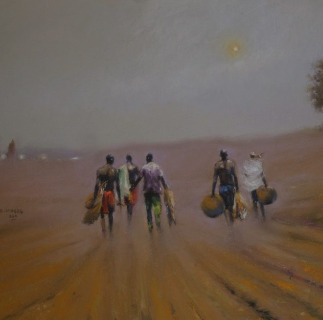 OGHAGBON E.MOSES, PASTEL,2011. ''EVENING HAZE 1''. 25'' X 18''. 2011. AVAILABLE