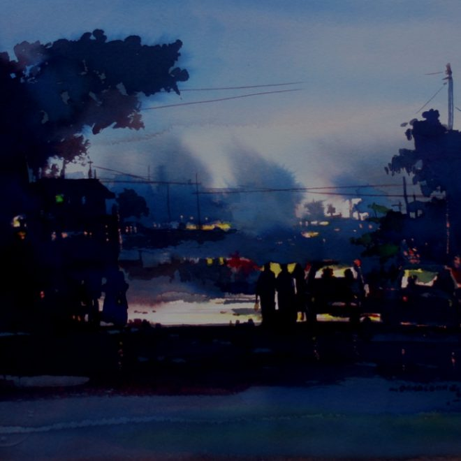 OGHAGBON E.MOSES. ''LIGTH OF HOPE'' 2, 20'' X 16'' WATERCOLOUR. .2009 AVAILABLE