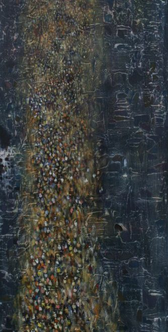 OGHAGBON MOSES, ''ONE VOICE 6'' MIXED MEDIA , 48'' X 16', 2014. AVAILABLE