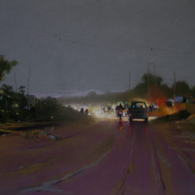 OGHAGBON MOSES, PASTEL 2011, ''ANOTHER DAY'' 25'' X 18'' SOLD