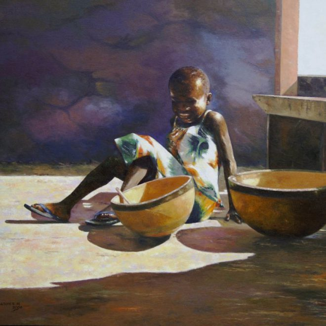 OGHAGBON.E.MOSES, OIL ON CANVAS ''LITTLE AMINA'' 1, 50''X42'', 2006, SOLD